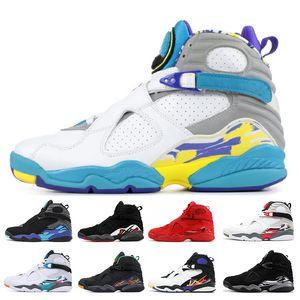 Nuevo día de San Valentín del Aqua Blanco Negro 8 8s Zapatos baloncesto de los hombres de tamaño Chrome Cuenta atrás Pack 3 TURBA VIII para hombre entrenadores deportivos zapatilla de deporte 7-13