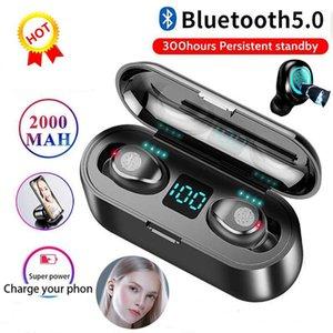 1 PCS F9 Bluetooth V5.0 fone de ouvido sem fio Fones de ouvido estéreo Esporte Auscultadores sem fios Earbuds fone de ouvido iPhone 2000mAh de energia para 11