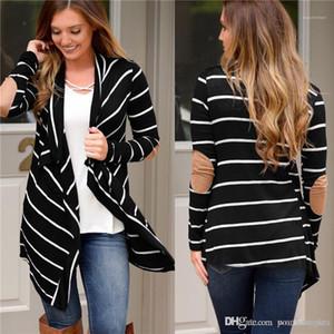 Flojas irregulares Womens Cardigan Outerwears Casual manga larga hembras de ropa de mujeres diseñador chaquetas de rayas con paneles de Moda