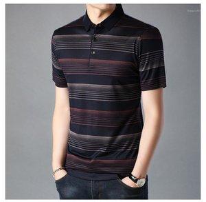 Kleidung Herren Designer-T-Shirts drehen unten Kragen-beiläufige Mens-T-Shirt Gestreiftes Print Contrast Farbe Polo Bluse männlich