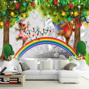 home decor Custom large mural 3D wallpaper Fairy tale world cartoon animal rainbow child bedroom mural TV back wall decor deep 5D embossed