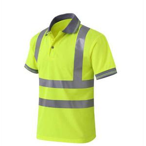 Hallo Vis T-Shirt-Arbeitssicherheits-Kleidungs-Arbeitskleidungs-trockenes Sitz-T-Shirt-Kurzschluss-Hülsen-reflektierendes Sicherheitshemd Freies Verschiffen T190622