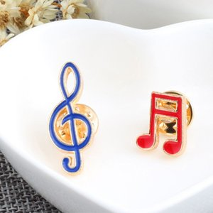 2 Pcs set Creative Cartoon Musical Note Enamel Brooches Pins Fashion Metal Badges Clothes Decoration Music Brooch