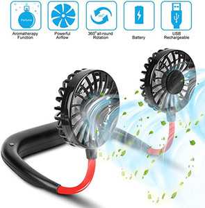 Mini USB Portable Fan Neck Fan Neckband With Rechargeable Battery Small Desk Fans handheld Air Cooler Conditioner for Room 5pcs XU-FS-1