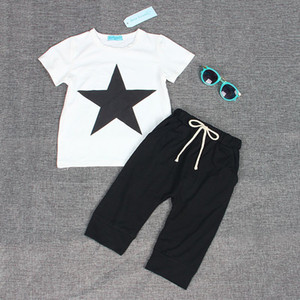 Summer Boy Clothes Two-piece Cartoon Print Short-sleeved T-shirt Pants Children's Wear Cotton 1-6 Y Child Quality Clothing 2019