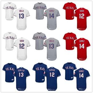 De Hombres Mujeres Jóvenes Majestic Jersey # 12 Rougned Odor 13 Joey Gallo 14 Carlos Gómez Inicio Azul Rojo Blanco Niños camisetas de béisbol
