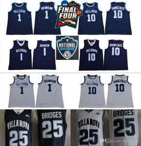 2019 Final Four Villanova Wildcats # 10 Donte DiVincenzo 1 Jalen Brunson 25 Mikal Pontes NCAA dos Campeões costurado Basketball Jersey