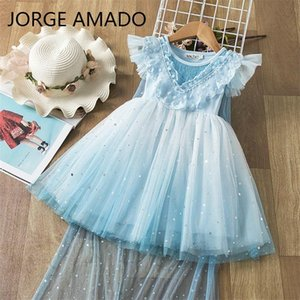 Wholesale Girl Starry Sky Dress Sequins Lace Blue Sundress Sleeveless Princess Dress Clock can Remove Baby Clothes E81203