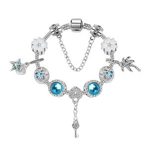 17-21CM New Ocean Stil Aşk Anahtar kolye Bileklik Gümüş Charm Boncuk Aksesuar Bilezikler Diy Düğün Takı Valentine Hediye kutusu ile