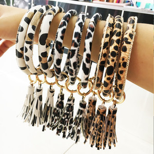 Leopard-Druck-Leder-Verpackungs-Armband-Keyring-Kette Quaste PU-Leder-Armbänder O-Schlüsselring-Kreis-Armband Armband Schlüsselanhänger Schmuck Accessoires