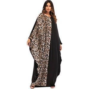 Mulheres New Style longo solto Vestidos Leopard Patchwork Moda Patchwork Vestidos Bat Sleeve Feminino Vestuário étnico