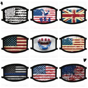 Designer divertente sveglia cotone partito Anime stampati maschere per adulti antipolvere Bocca muffola American Flag Maschera lavabili riutilizzabili Ear Loop Mask FY9120