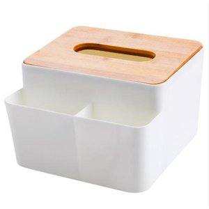 Simple Plastic Pen Paper Holder Case Container Pens Holders Home Office Supplies Wooden Lid Storage