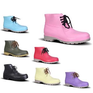 Смазка расстойки ПВХ дождя сапоги Низкая труда Страхование Обувь стальной подносок Черный Желтый Красный Розовый Фиолетовый Темно-зеленый Мужская обувь 38-44