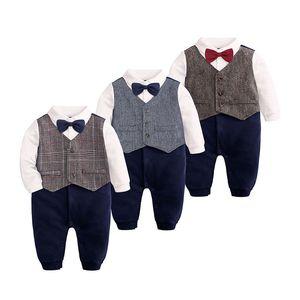 Baby-Kind-Spielanzug gestrickte Baumwolle Langarm Bowtie-Shirts Gentleman Baby-formales Kleid Kinderkleidung Jungen 0-24M 07