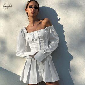 Ombro Off sólida Mini vestidos túnica branca vestido plissado Verão Mulheres camisa de manga longa fêmea Ruffle Sexy Partido elegante
