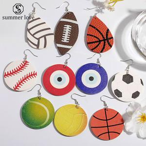 Yeni Spor Yuvarlak PU Deri Küpe Beyzbol Futbol Futbol Basketbol Softbol Evil Mavi Göz Bırak Küpe kadınlar Takı Için