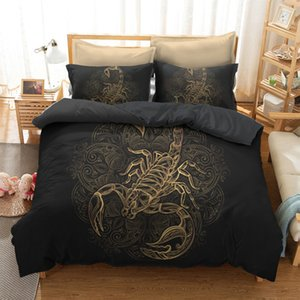 Gold Scorpion Bedding Sets king Meteor Scorpio Duvet Cover Constellation Bed Set Bohemian Black Bedclothes