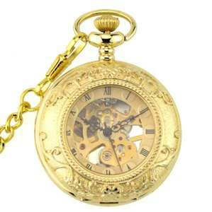 10pcs lot Gold Carved Mechanical Pendant Pocket Watch Retro Skeleton Roman Dial Steampunk Open Face Pocket Watch with Chain
