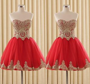 Красный и золотой украшенный короткий дешевый коктейль выпускного вечера платья милая блестья корсет задний тюль дизайнер домочирочное вечеринка платье