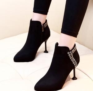 Nueva Llegada de la Venta Caliente Especiales Super Moda Influx Custom Martin Cowgirl Guapo Negro Suede Metal Circle Noble Heels Ankle Boots EU34-39
