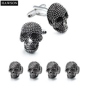 link alla moda Skull Designer gemelli Studs Set Mens bianca camicia dello smoking degli accessori dei monili del partito del migliore regalo smalto nero Cuff