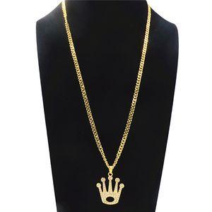 Géométrique Creux Grande Couronne Strass Pendentif Collier Pour Hommes Hip-Hop Long Collier De Mode Alliage Plaqué Or Bijoux Accessoires En Gros