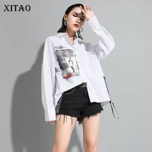 Xitao Baskı Letter Desen Bluz Moda Yeni Kadın 2020 İlkbahar Şık Düzensiz Patchwork Azınlık Casual Pileli Gömlek XJ3773