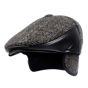 Yeni Kış Stil Erkekler Şapka Yün Keçe Deri Kalın Erkekler için Earmuff'lar Erkek Kemik babamın Şapka Trucker Kış Şapka ile Berets Isınma
