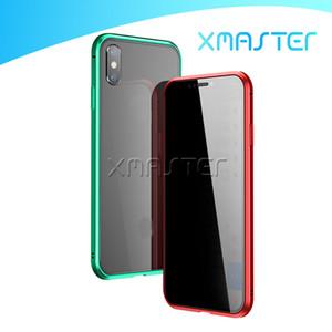 Cobertura completa de Privacidade Magnetic Adsorção temperado Caixa do telefone do painel de vidro para iPhone XS MAX XR X 8 7 Plus Magnet Anti Spy Tampa