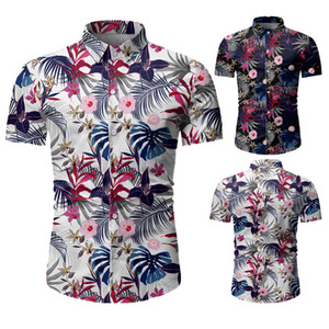 Mens лета с коротким рукавом рубашки Пляжные футболки для мужчин высокого качества Slim Fit Shirt Гавайская рубашка Men Casual кнопки Up