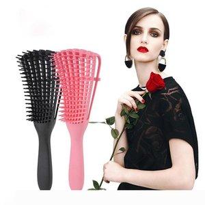 Detangle Brushes Scalp Massage Comb Women Hairbrush Comb Health Care Plastic Message Hair Brushes with OPP Bag Package LJJO7307