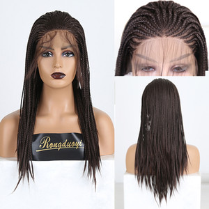 RONGDUOYI Brown Heat Resistant Hair Synthetic Lace Front Wig Free Part Braided Box Braids Wigs for Women Fiber Cosplay Lace Wig
