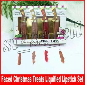 Enfrentou batons de maquiagem de Natal o doce cheiro de guloseimas de Natal batom liquefeito definido 4 cores derretido Matte Lip gloss presente