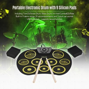 SLADE Portable Electronic 9 Pads Roll Up Silicone Drum with Drumsticks and Sustain Pedal Children Students Practice Drum