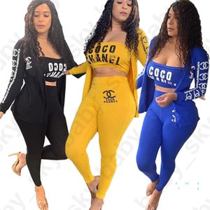 Mulheres Treino Cartas Moda manga comprida Brasão Jacket + Tubo Top + Pants Leggings 3 Pieces Outfits Sports Casual Suit S-XL D32405