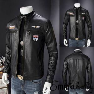 Emmababy Mens Retro-Stil mit Reißverschluss Motorradjacke aus echtem Leder Soft-Coat Factory Schwarz Freizeit Freies Verschiffen