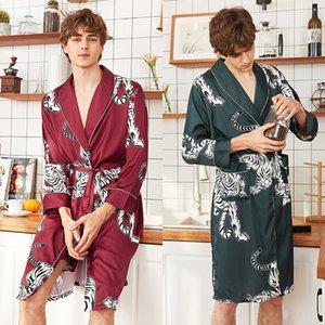 Men Satin Kimono Summer Silk Bathrob Red Tiger Knee Long Sleeve Bume Bath Roup Dark Green Dressp for Male Sleepwearwear T200420