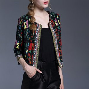 Embroidery Outerwear Winter Print Office Ladies Women Coats and Jackets Vintage Autumn Long Sleeve Coat
