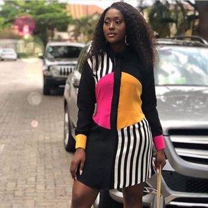 Femmes d'été Chemise à manches longues Robe 2020 Bureau Streetwear Stripe longueur genou Casual robe Bouton Noir lâche Midi Party