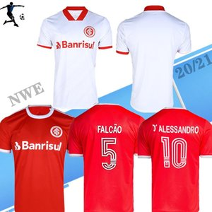 브라질 2020 2021 SC 인터내셔널 축구 유니폼 홈 멀리 패트릭 (20) (21) FERNADÃO camisetas R.Sobis D.ALESSANDRO 축구 셔츠 흰색 빨간색
