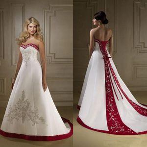 2020 ретро красный и белый атлас вышивка свадебные платья без бретелек линия зашнуровать суд поезд страна свадебные платья vestidos плюс размер