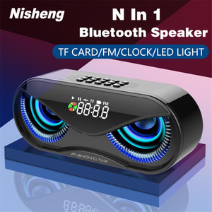 M6 Cool Owl Design Bluetooth Speaker LED Flash Wireless Loudspeaker FM Radio Alarm Clock TF Card Support Select Songs By Number