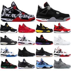Nike AIR Jordan 4  Ücretsiz çorapları ile yeni 4 4 s Erkek Basketbol ayakkabı BRED dövme SIYAH KEDI ALTERNAT MOTORSPORT ROYALTY PURE PARA spor sneakers boyut 40-47