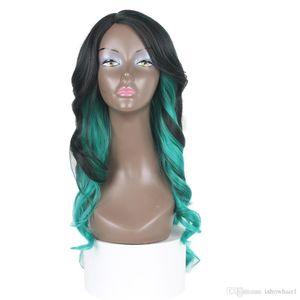 Ombre Rubio Color de la peluca púrpura del cuerpo del pelo de la onda pelucas 30 # 27 # azul resistente al calor pelucas sintéticas Cordón verde