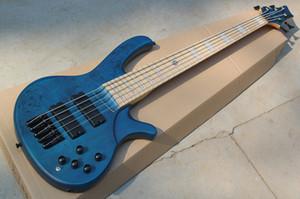 공장 사용자 지정 5 문자열 블루 일렉트릭베이스 기타, 블랙 Hardwares, 단풍 나무 지팡이, 화이트 진주 틀니, 맞춤형 제공