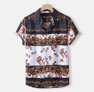 Mens plage hawaïenne Chemise vintage ethnique court été tropical Chemise à manches en vrac coton fleuri Chemises Vêtements pour hommes