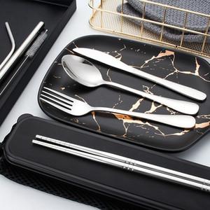 304 Edelstahl-Besteck Set 7pcs / set Bewegliche Besteckset für Outdoor-Reisen Picknick-Tischgeschirr mit Kasten HHA998