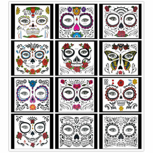 New Halloween Temporary Tattoos Christmas Festival Tattoo Sticker masquerade ball face sticker Body art 12 styles