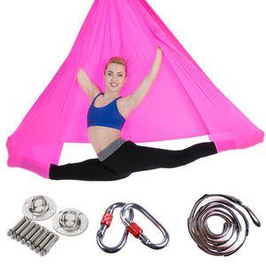 5*2.8m Yoga Hammock Full Set Anti-Gravity Aerial Stretch Yoga Swing Inversion Fitness Hammock For Strength Exercise Flying Swing